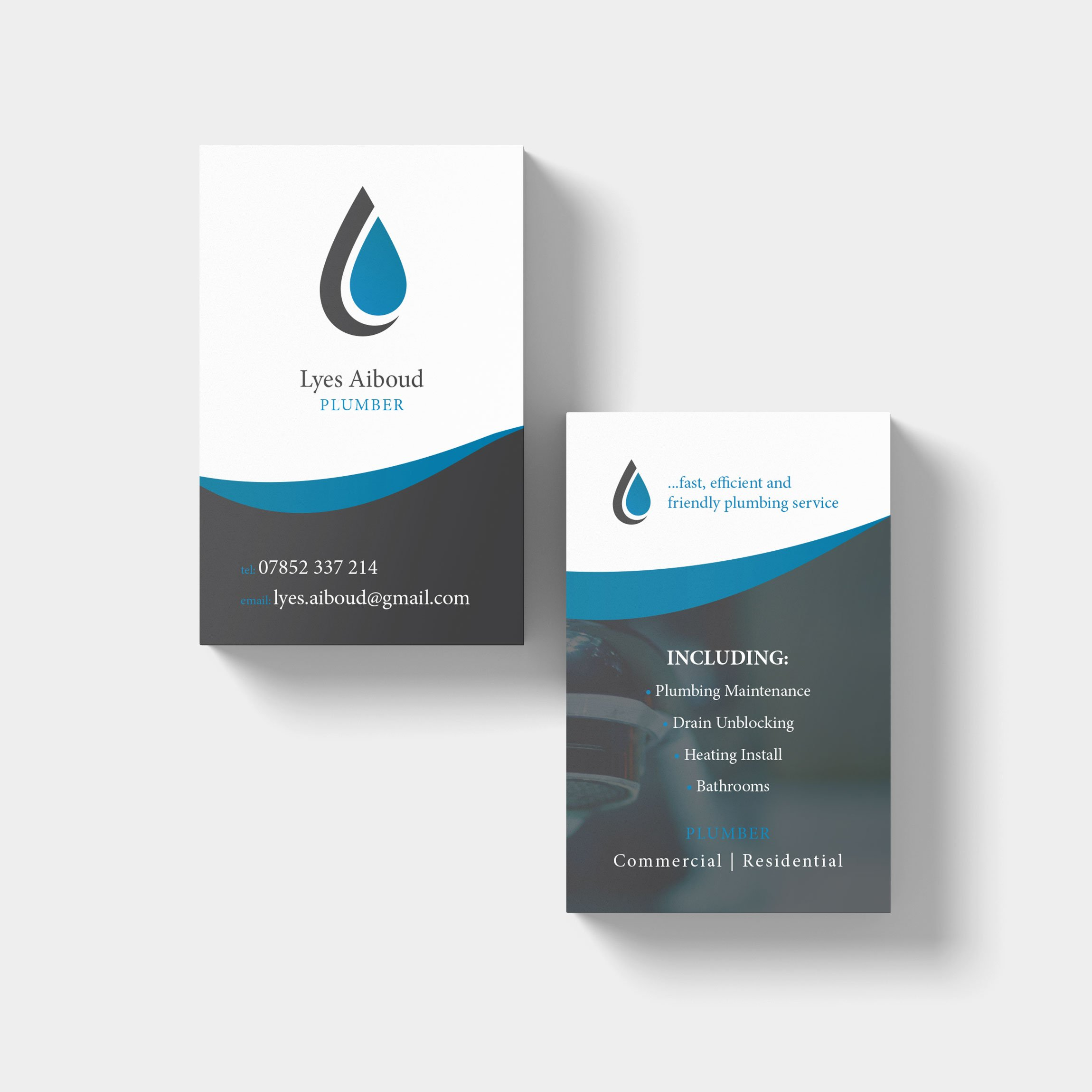 Business Card Design for local plumber Lyes Aiboud