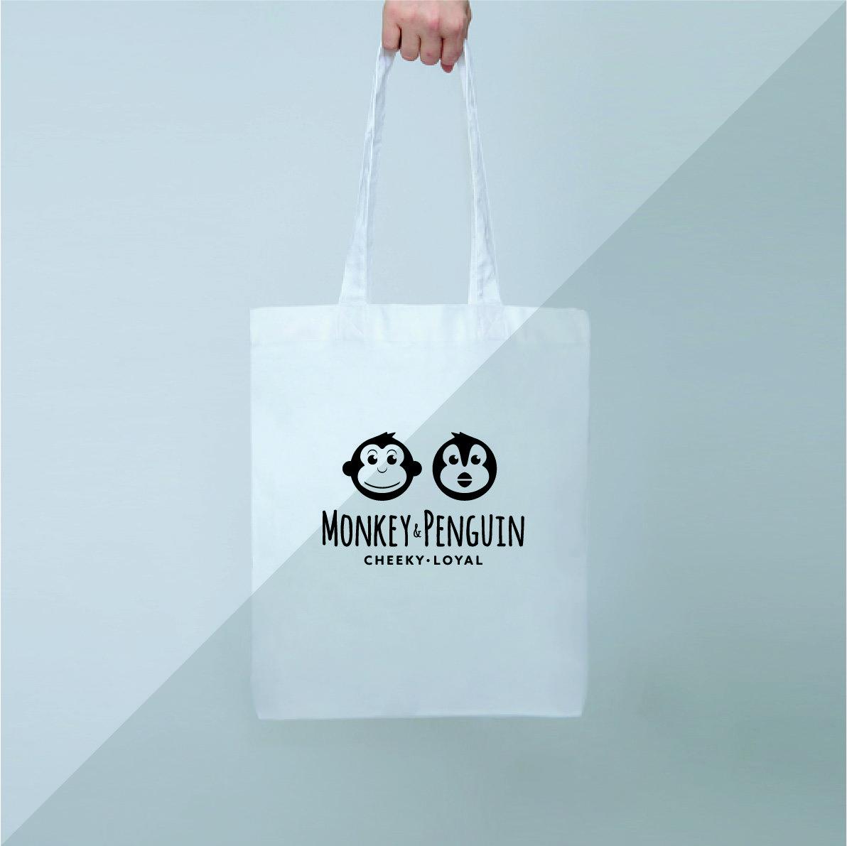 Monkey and Penguin Logo Tote Bag
