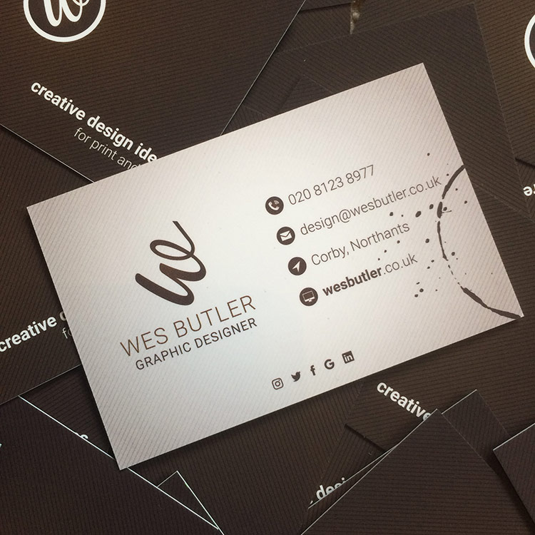 Wes butler business card wes butler freelance graphic design corby designing my business card colourmoves